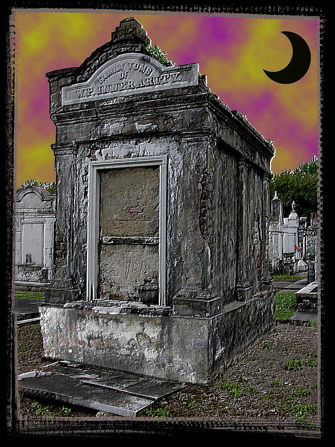New Orleans Photograph - Moonlit Cemetary by Linda Kish