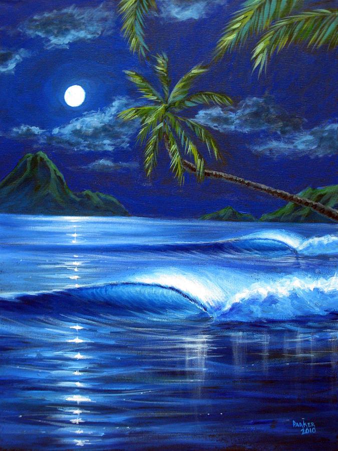 Tropical Painting - Moonlit Serenade by Patrick Parker