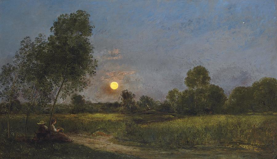 Moonrise Painting - Moonrise by Charles Francois Daubigny