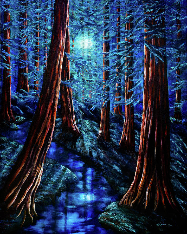 Moon Painting - Moonrise Over The Los Altos Redwood Grove by Laura Iverson