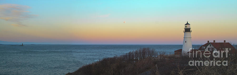 Atlantic Ocean Photograph - Moonrising Over Portland Headlight by David Bishop