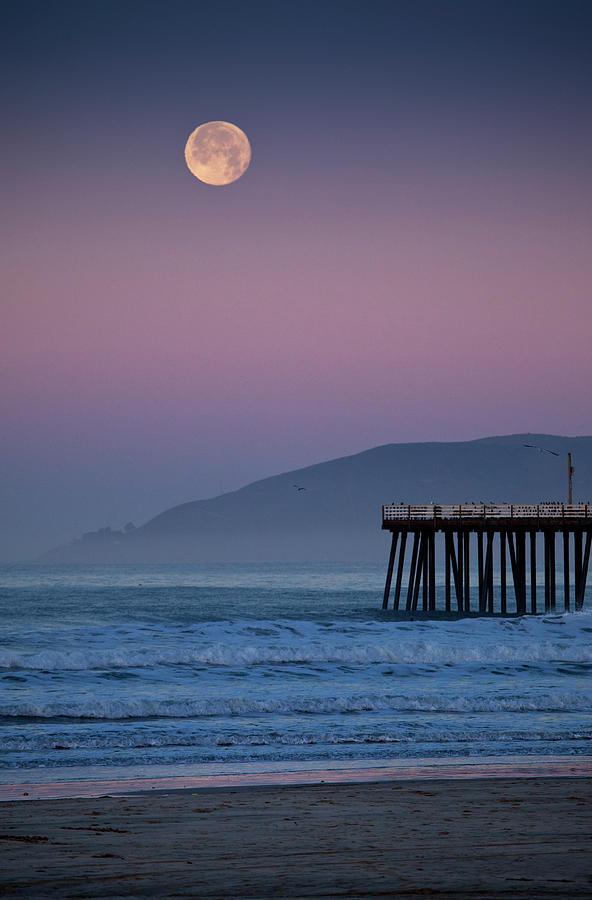 Moonset At Pismo Beach Photograph