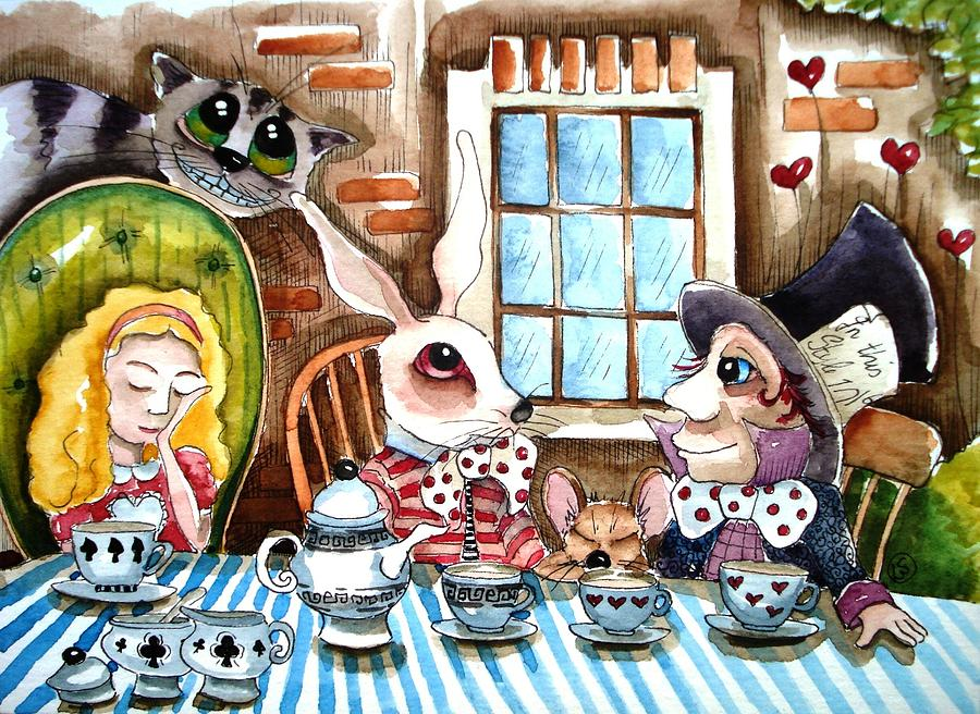 Alice Wonderland White Rabbit Mouse Hatter Cheshire Cat Window Table Cloth Tea Teacup Teapot Heart Brick Tree Chair Painting - More Tea by Lucia Stewart