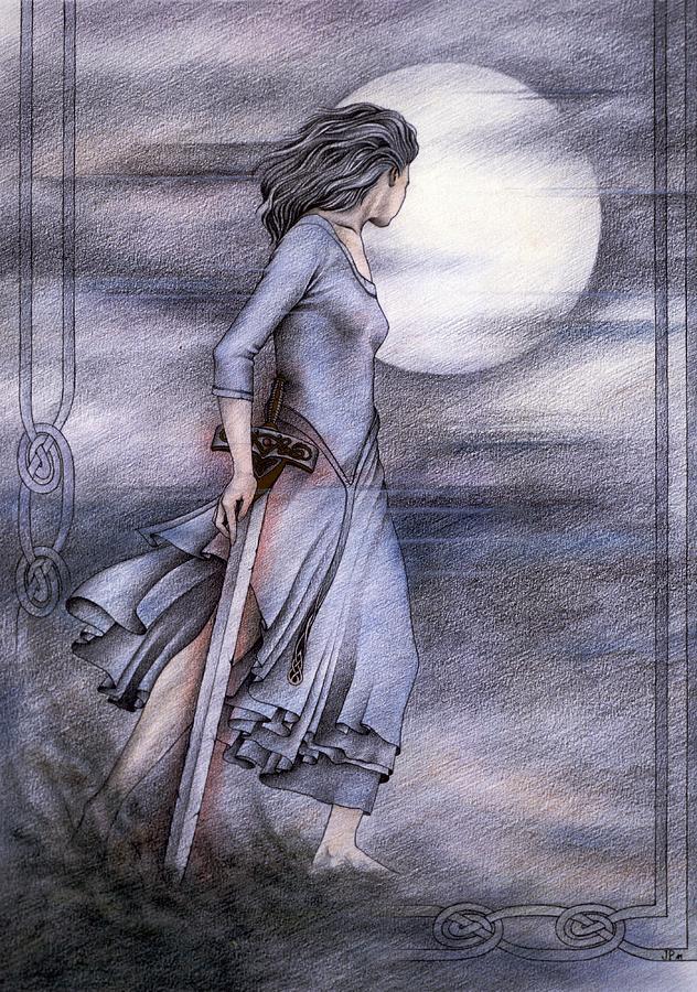 King Arthur Drawing - Morgan Le Fay by Johanna Pieterman