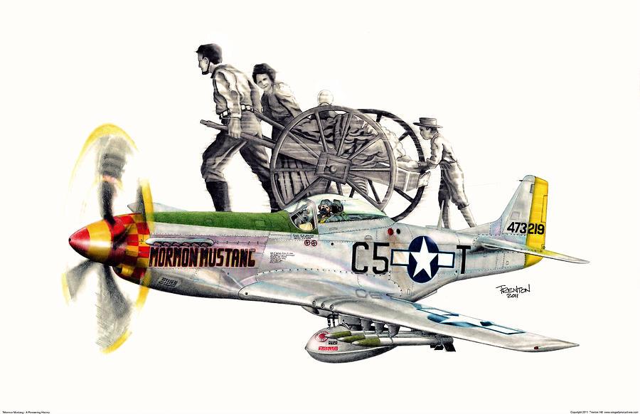Mormon Mustang Drawing - Mormon Mustang - Pioneering History by Trenton Hill
