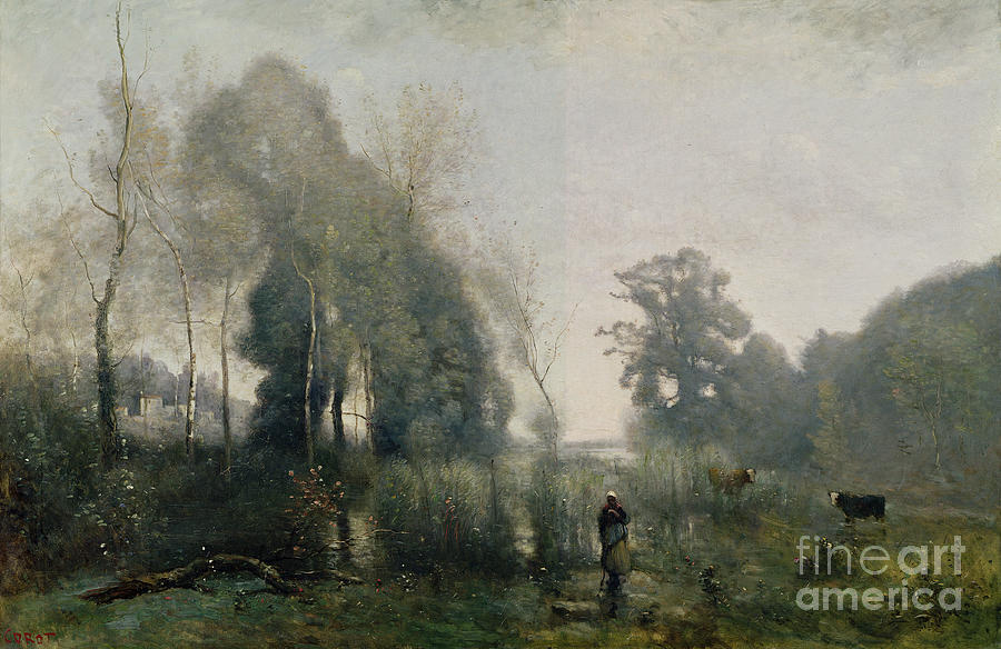 Morning Painting - Morning At Ville Davray by Jean Baptiste Camille Corot