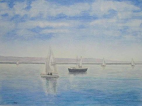 Marine Lake Sailing Boats Skies Watercolour Painting - morning Calm - West Kirby Marine Lake by Peter Farrow