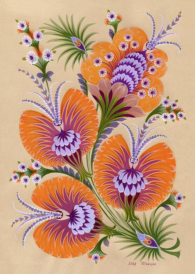 Amazing Painting - Morning Flowers by Olena Kulyk