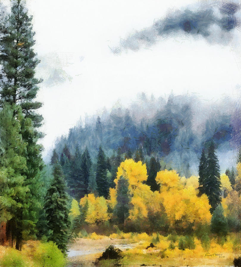 Landscape Painting - Morning Fog Montana by Russ Harris