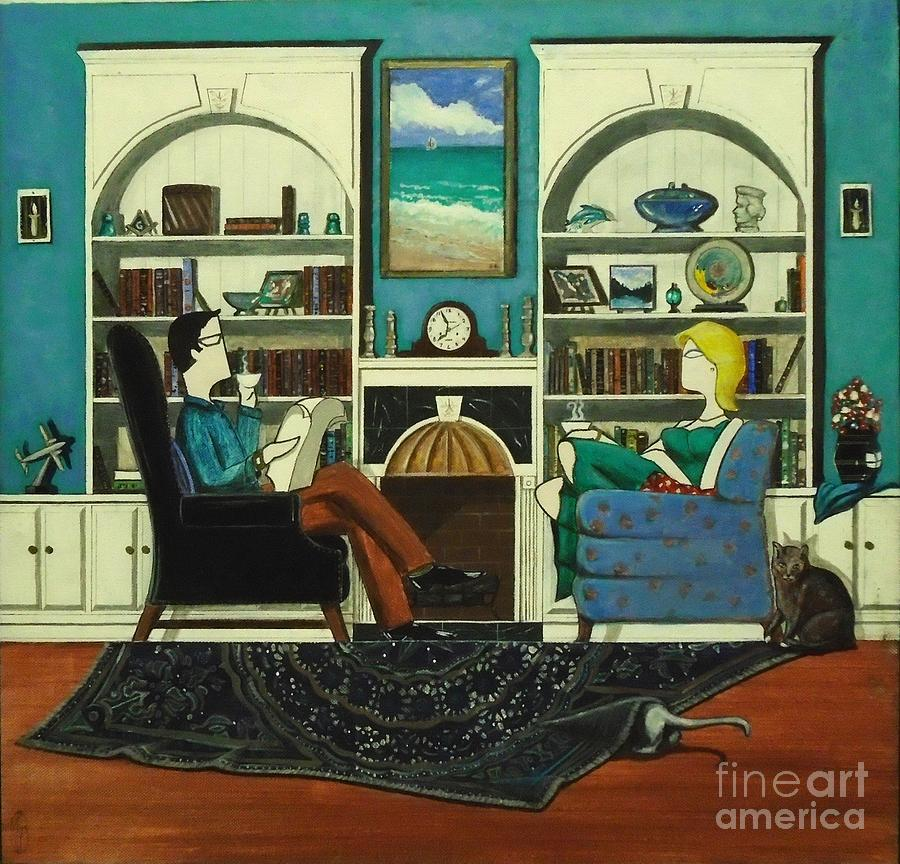 John Lyes Painting - Morning With The Cats While Sitting In Chairs by John Lyes