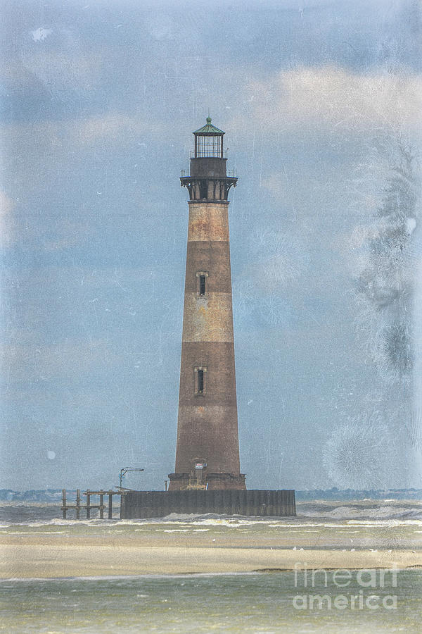 Morris Island Lighthouse Salt Water Marine Warning Photograph