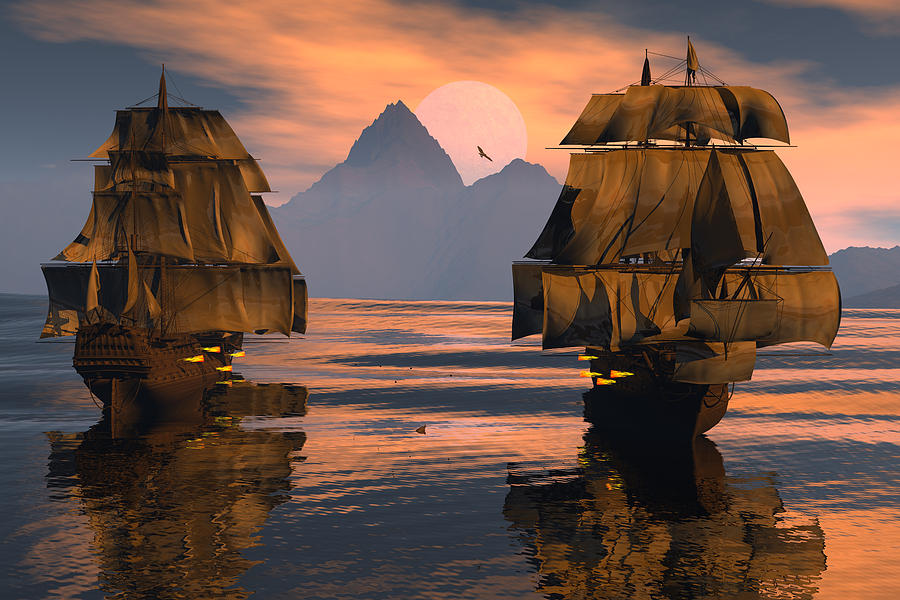 Bryce 3d Fantasy  tall Ships Windjammer Digital Art - Mortal Enemies by Claude McCoy