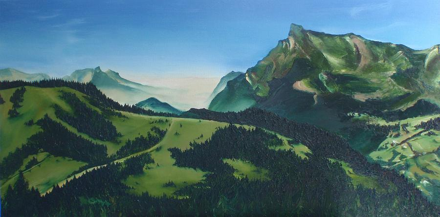 Alps Painting - Morzine by Mira Cooke