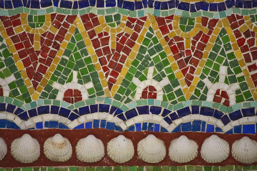 J Paul Getty Photograph - Mosaic Fountain Pattern Detail 4 by Teresa Mucha