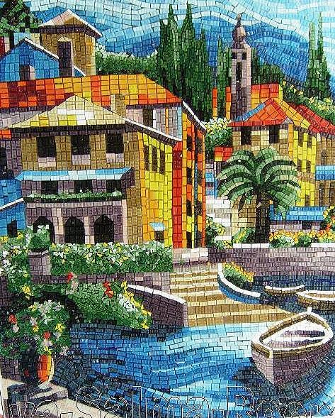 Glass Art - Mosaic Landscape by Reem Derbala