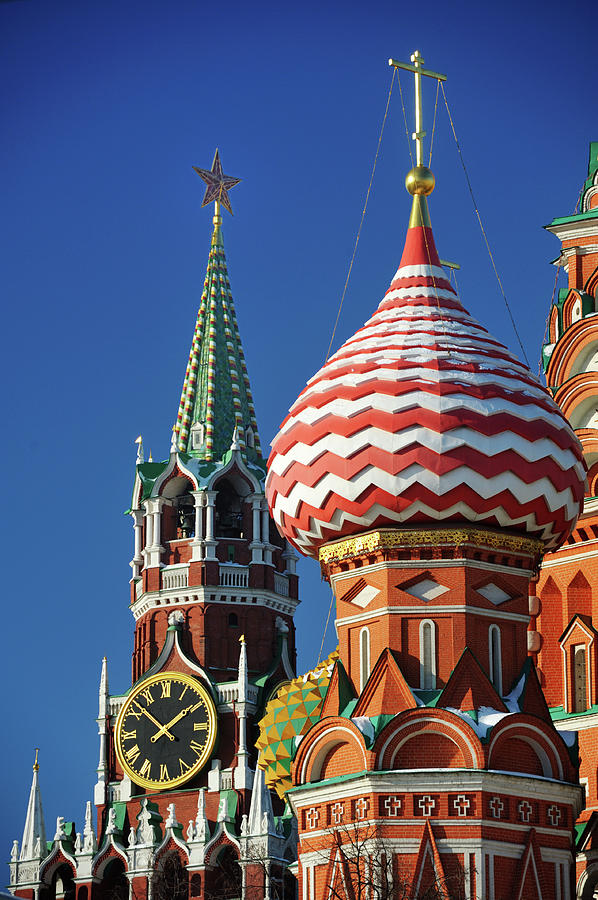 Vertical Photograph - Moscow, Spasskaya Tower And St. Basil Cathedral by Vladimir Zakharov
