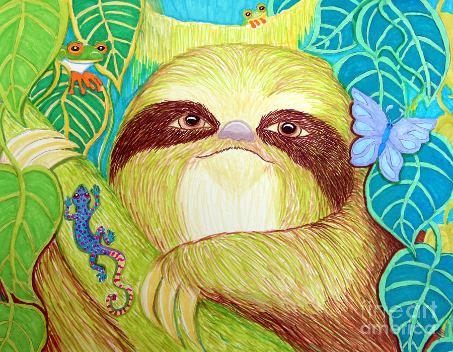 Sloth Drawing - Mossy Sloth by Nick Gustafson