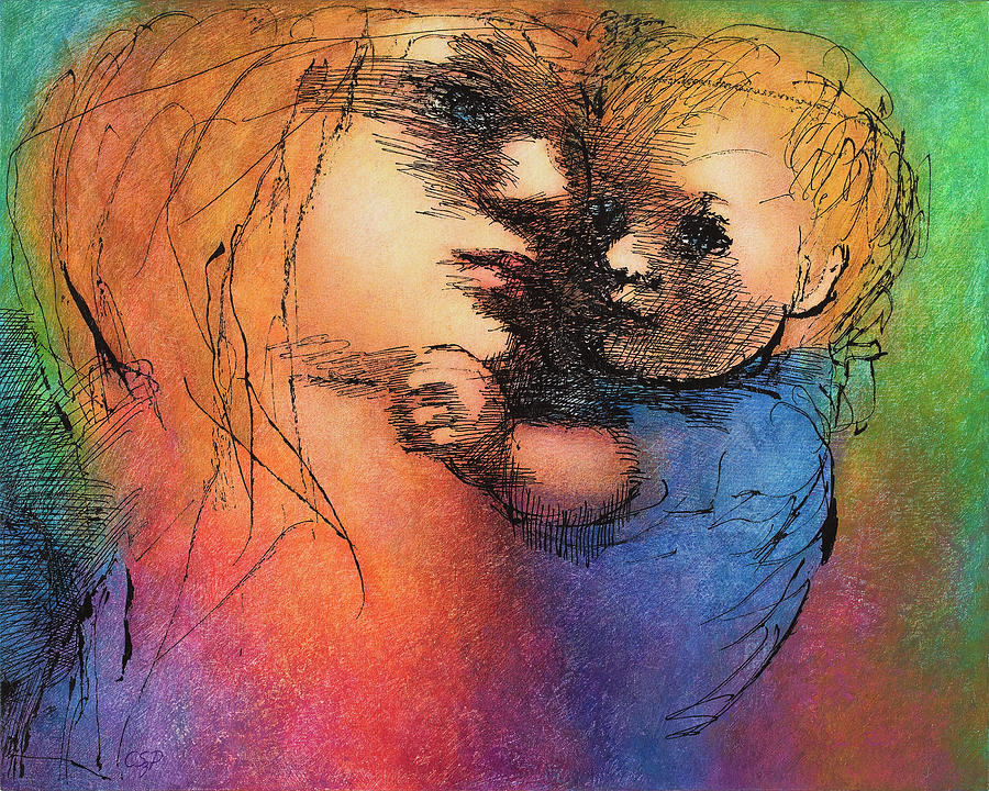 Mother Painting - Mother And Child by Claire  Szalay Phipps