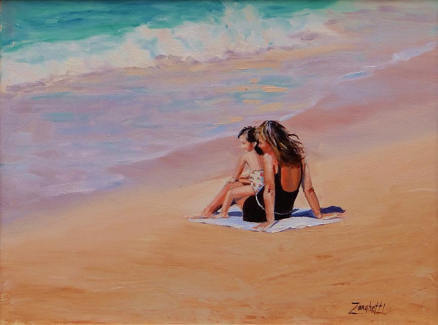 Seascape Painting - Mother And Child by Laura Lee Zanghetti