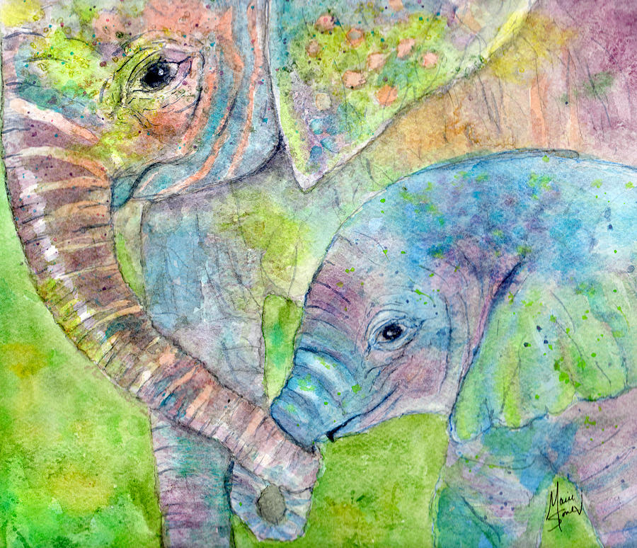Elephant Painting - Mother And Child by Marie Stone Van Vuuren