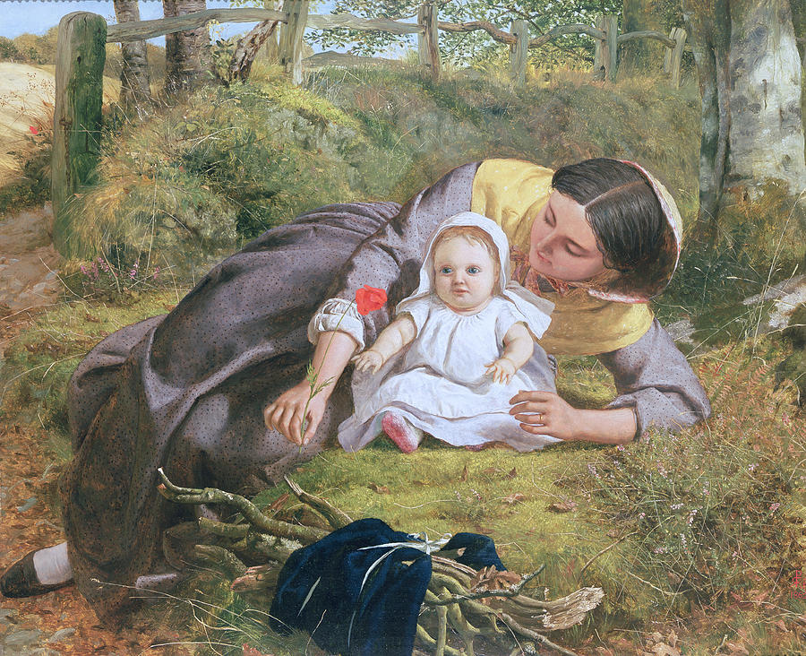 Mother And Child With A Poppy Painting