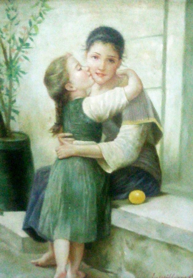 Mother Painting - Mother And Daughter by Unique Consignment