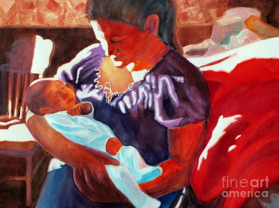 Paintings Painting - Mother And Newborn Child by Kathy Braud