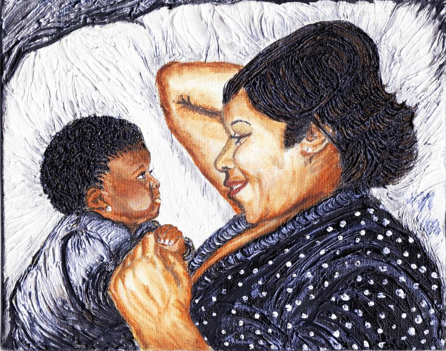Family Painting - Mother  Daughter First Conversation by Keenya  Woods