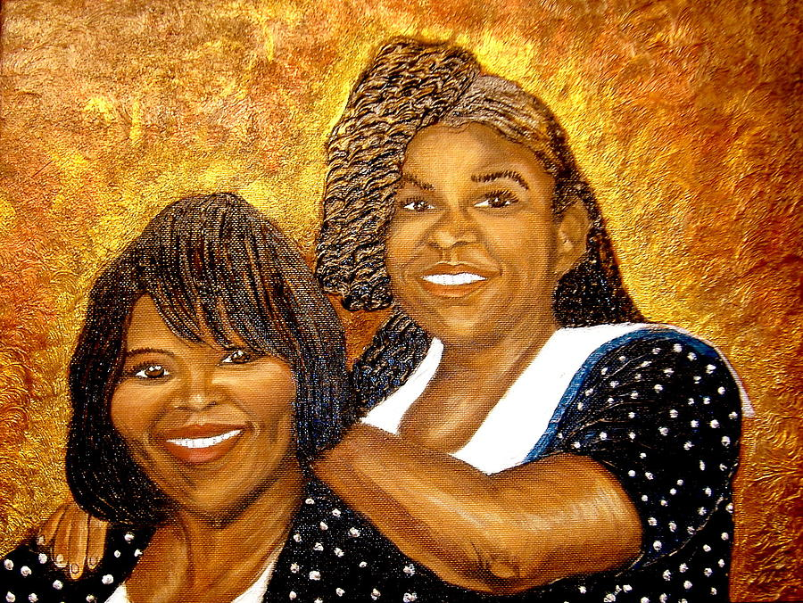 Portrait Painting - Mother Daughter Friend by Keenya  Woods