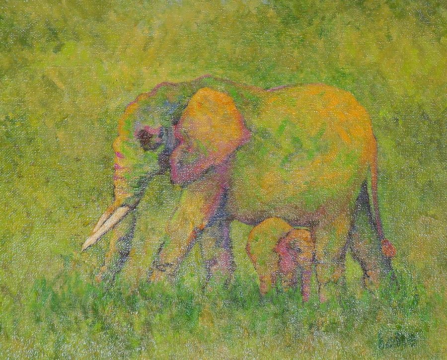 Elephants Painting - Mother Love  by Lore Rossi