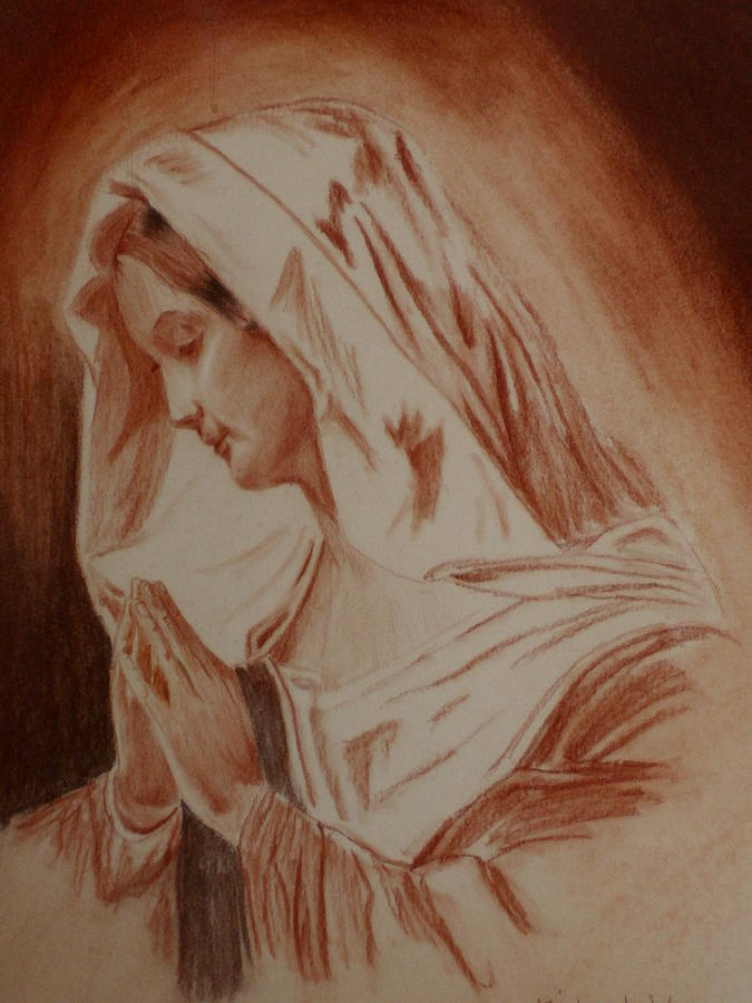 Religious Art Pastel - Mother Mary by Mike Hinojosa