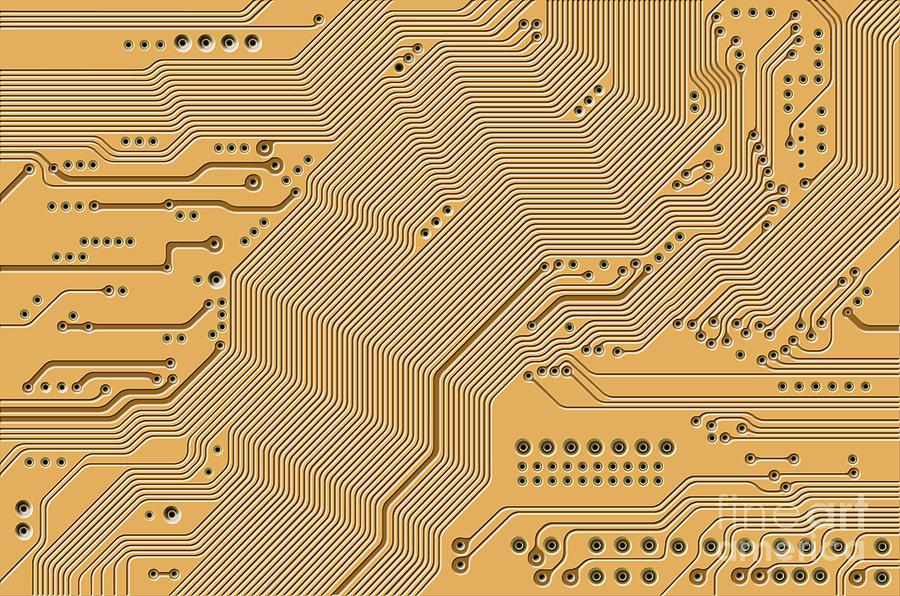 Circuit Digital Art - Motherboard - Printed Circuit by Michal Boubin