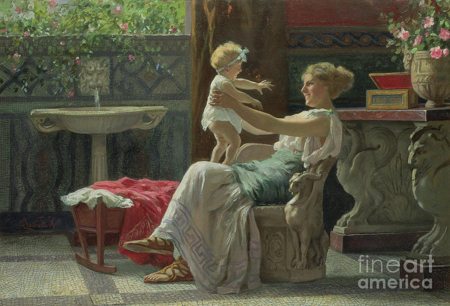 Baby; Roman; Fountain; Interior; Classicising; Classical; Antique; Scene; Mother; Child; Cradle; Maternal; Maternity; Love; Family; Smile; Laughing; Playing; Ribbon Painting - Mothers Darling  by Zocchi Guglielmo