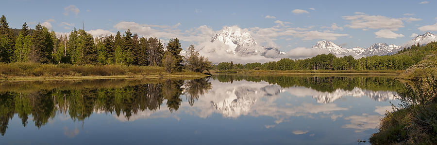 Mount Moran On Snake River At Oxbow Bend Grand Teton National Park Panoramic Photograph - Mount Moran On Oxbow Bend Panorama by Brian Harig