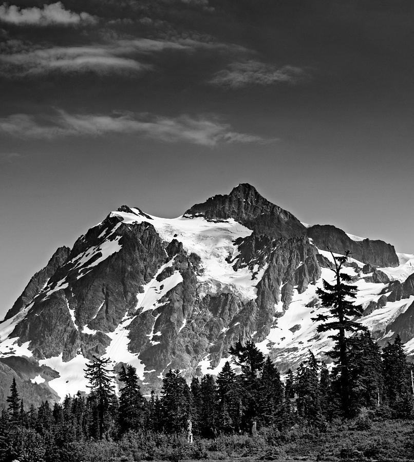 Cascades Photograph - Mount Shuksan Black And White Cascade Mountains Washington by Brendan Reals