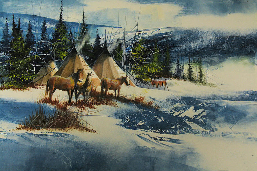 Landscape Painting - Mountain Camp by Robert Carver