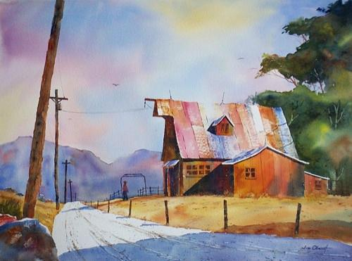 Landscape Painting - Mountain View Barn by Jim Oberst