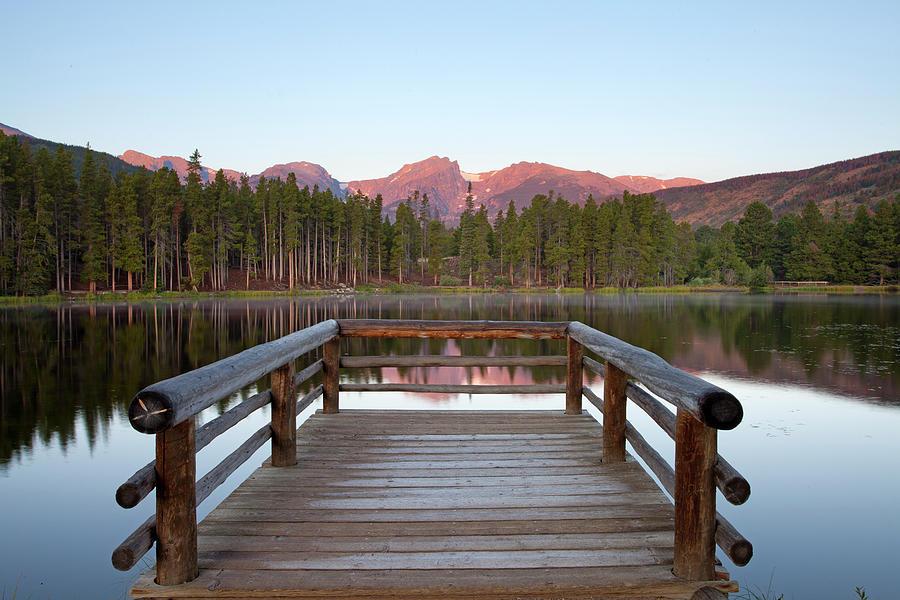Horizontal Photograph - Mountains Behind Sprague Lake by Lightvision, LLC