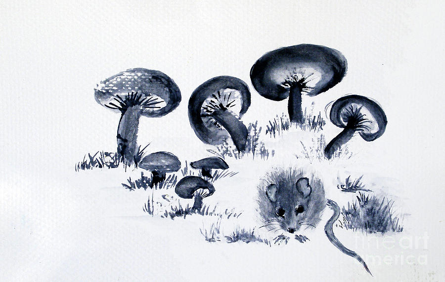 Mouse Painting - Mouse N Mushrooms by Sibby S