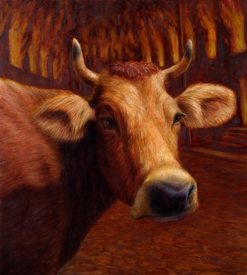 Cow Painting - Mrs. Olearys Cow by James W Johnson