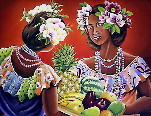 Mujeres Con Frutas Painting