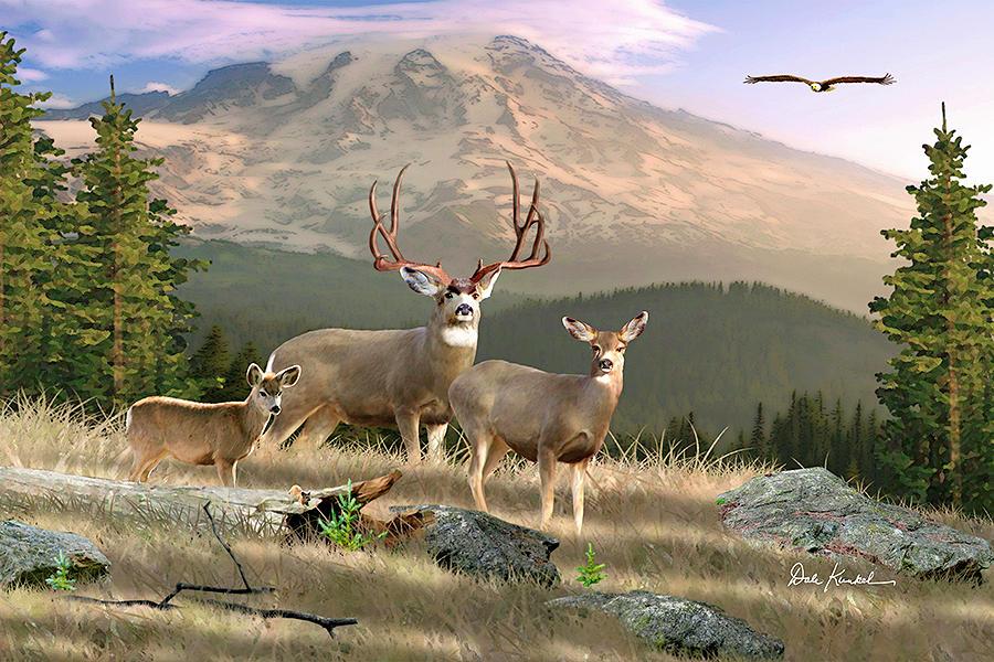 Deer art big whitetail bucks for Deer scenery