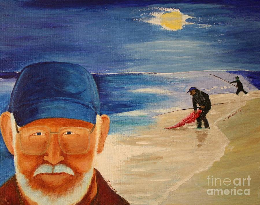 Surf Fishing Painting - Mule Fishing The Point At Hatterras by Bill Hubbard