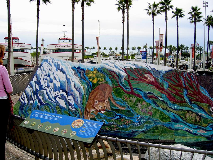 Mural Painting - Mural For The Fountain At The Aquarium Of The Pacific by Theodora Kurkchiev