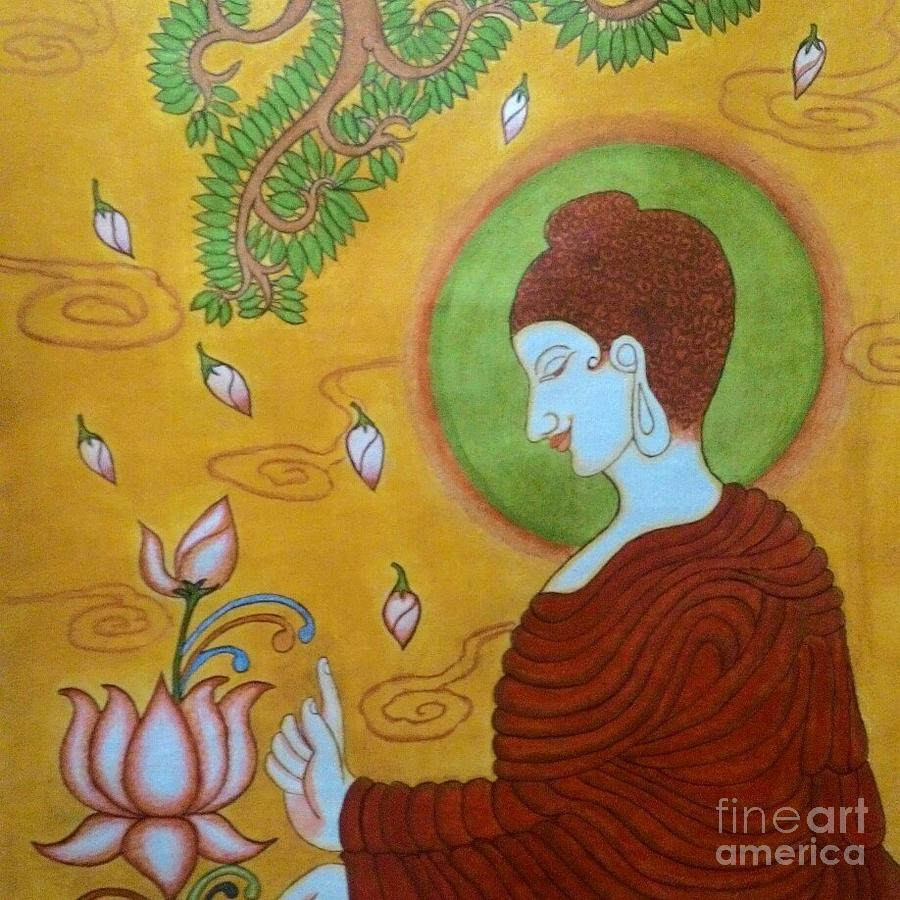 Mural painting of buddha painting by rasitha ratnakar for Buddha mural art