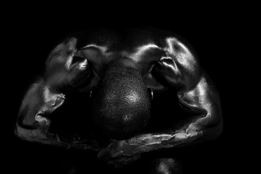 Male Model Photograph - Muscle Man At Rest by Val Black Russian Tourchin
