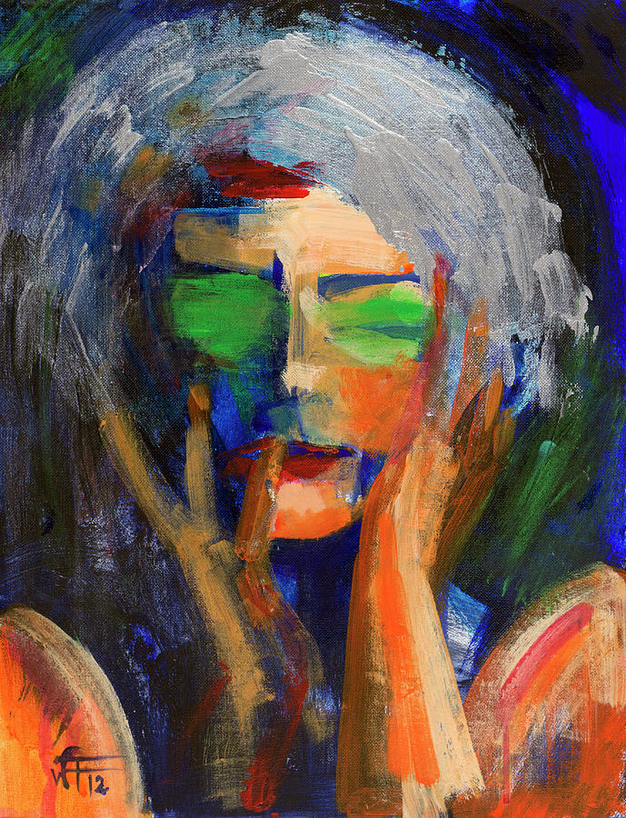 Portrait Painting - Muse Thinking by Walter Fahmy