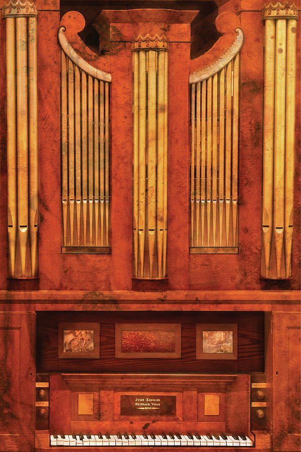 Savad Photograph - Music - Organist - Skippack  Ville Organ - 1835 by Mike Savad