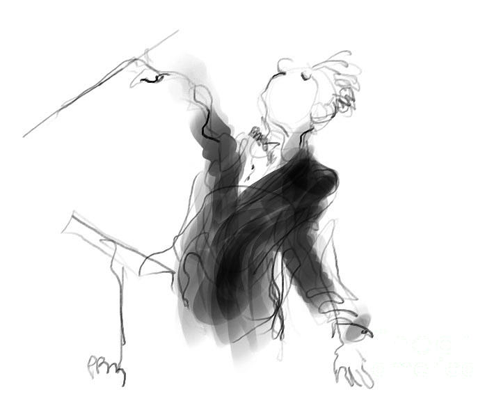 Music Conductor Drawing - Music Conductor Sketch by Paul Miller