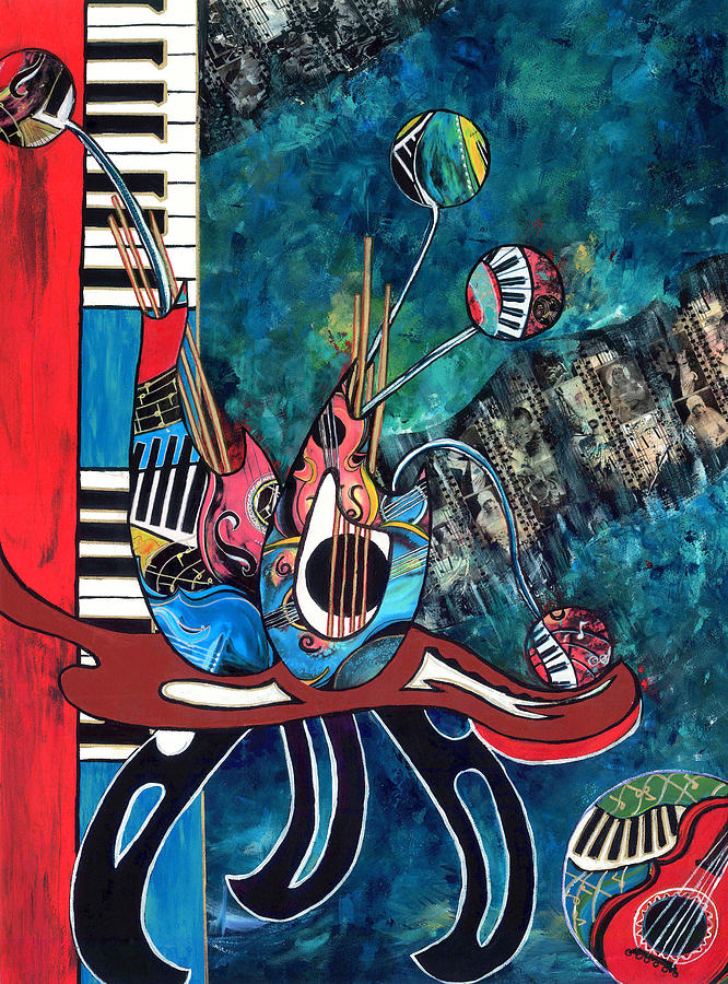 Musical Instruments Painting - Music Mania by Cheryl Ehlers